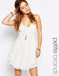 Glamorous Petite Cami Layered Swing Dress With Crochet Inserts White
