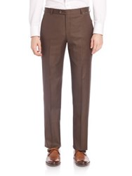 Hickey Freeman B Series Flat Front Wool Pants Brown