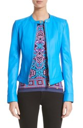 Versace 'S Collection Nappa Leather Jacket Cobalt