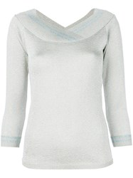 Charlott Metallic V Neck Pullover Grey