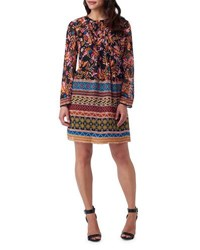 5Twelve Boho Floral Print Dress Black Orange