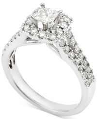 Macy's Diamond Square Halo Engagement Ring 1 Ct. T.W. In 14K White Gold
