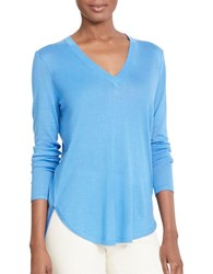 Lauren Ralph Lauren Silk Blend V Neck Sweater Blue