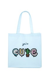 Forever 21 Youre Cute Graphic Tote Bag Light Blue Multi