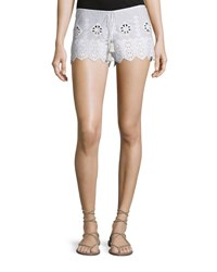 Miguelina Minnie Geometric Embroidered Shorts Pure White