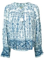 Sea Printed Peasant Blouse White