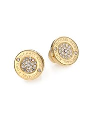 Michael Kors Heritage Plaque Pave Logo Stud Earrings Goldtone
