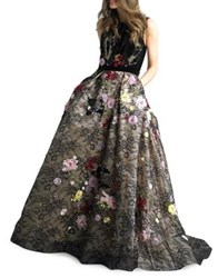 Basix Ii Floral Floor Length Gown Black Multi