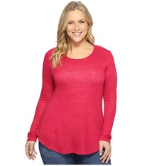 B Collection By Bobeau Curvy Plus Size Apple Mixed Media Top Fuchsia Women's Clothing Pink