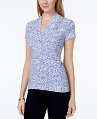 Charter Club Short Sleeve Crossover Wrap Top Tile Print Worldly Blue