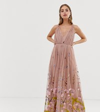 Asos Design Petite Tulle Maxi Dress With Delicate Floral Embroidery And Twist Straps Blue