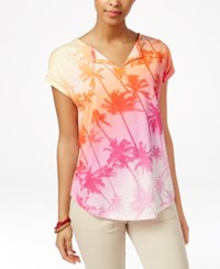 American Living Palm Print T Shirt Only At Macy's Pink Multi