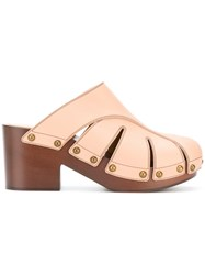 Chloe Studded Platform Mules Nude And Neutrals