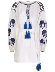 Fanm Mon White Linen Floral Embroidered Mini Dress