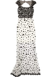 Marchesa Notte Appliqued Tulle Gown Off White