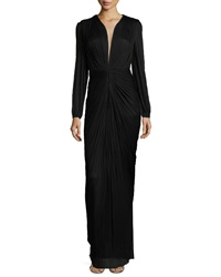 Maria Lucia Hohan Ira Long Sleeve V Neck Draped Gown