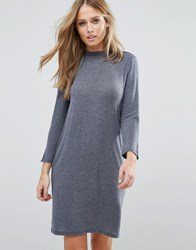 Vila Crew Neck Jumper Dress Total Eclipse Black