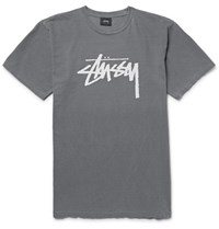 Stussy Printed Cotton Jersey T Shirt Anthracite