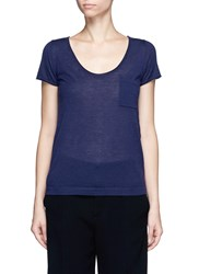 Crush Collection Cashmere Short Sleeve Pocket Sweater Blue