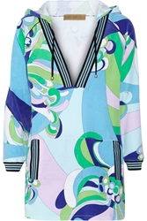 Emilio Pucci Hooded Printed Cotton Blend Terry Tunic