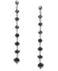 Macy's Black Diamond Dangle Drop Earrings In 14K White Gold 4 Ct. T.W.