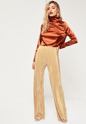 Missguided Petite Exclusive Gold Pleated Wide Leg Trousers
