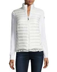 Moncler Cardigan Style Puffer With Ruffle Hem White