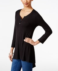 Styleandco. Style And Co. Ribbed High Low Top Only At Macy's Deep Black