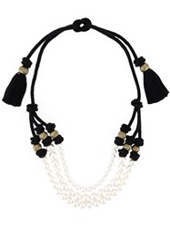 Lanvin Triple String Of Faux Pearls Necklace Black