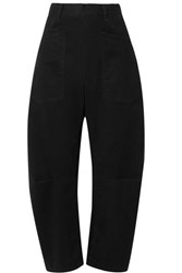 Nili Lotan Shon Cotton Blend Twill Tapered Pants Black