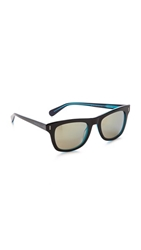 Marc By Marc Jacobs Square Mirrored Sunglasses Black Blue Khaki Mirror