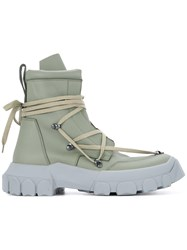 Rick Owens Lace Up Hiking Boots Green