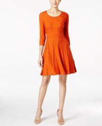 Calvin Klein Intarsia Fit And Flare Sweater Dress Orange