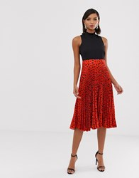 Closet London 2 In 1 High Neck Skater Dress With Pleated Skirt In Red Fleck Print Multi