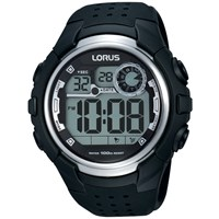 Lorus R2385kx9 Men's Digital Day Date Silicone Strap Watch Black
