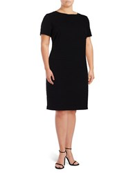 Michael Michael Kors Plus Textured Short Sleeve Sheath Dress Black