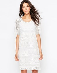 B.Young Lace Shift Dress Off White