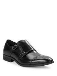 Black Brown Cabot Leather Monk Shoes Black