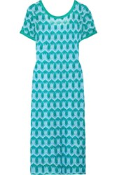 Missoni Metallic Crochet Knit Midi Dress Turquoise