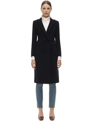 Tagliatore Zeudi Double Breasted Wool Blend Coat Dark Blue