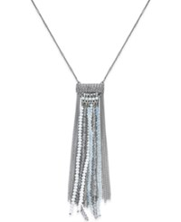 Macy's Silver Tone Bead And Chain Tassel Necklace