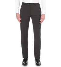 Armani Collezioni Regular Fit Wool Trousers Grey