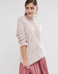 Fashion Union Roll Neck Knitted Jumper Pink
