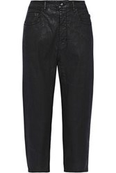 Rick Owens Woman Cropped Coated Mid Rise Tapered Jeans Black