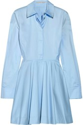 Stella Mccartney Leile Fluted Cotton Twill Mini Dress Sky Blue