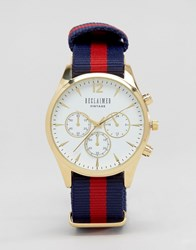 Reclaimed Vintage Chronograph Stripe Canvas Watch With White Dial Navy