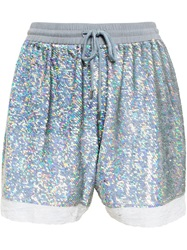 Ashish Lace Trimmed Sequin Shorts Metallic