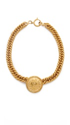 Wgaca Vintage Chanel Coin Choker Gold