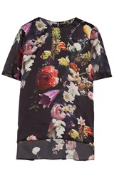 Adam By Adam Lippes Pleated Floral Print Silk Top Black