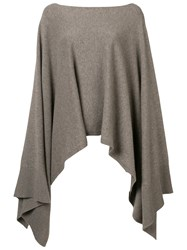 Agnona Boat Neck Poncho Nude And Neutrals